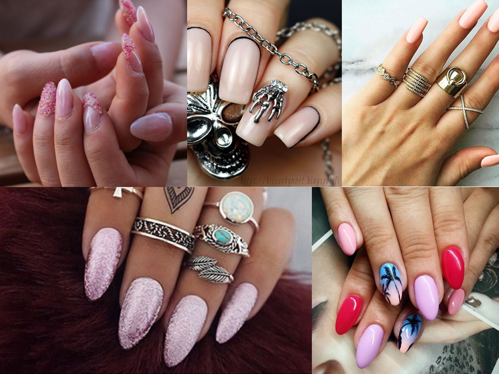 różowe paznokcie wzory 2016