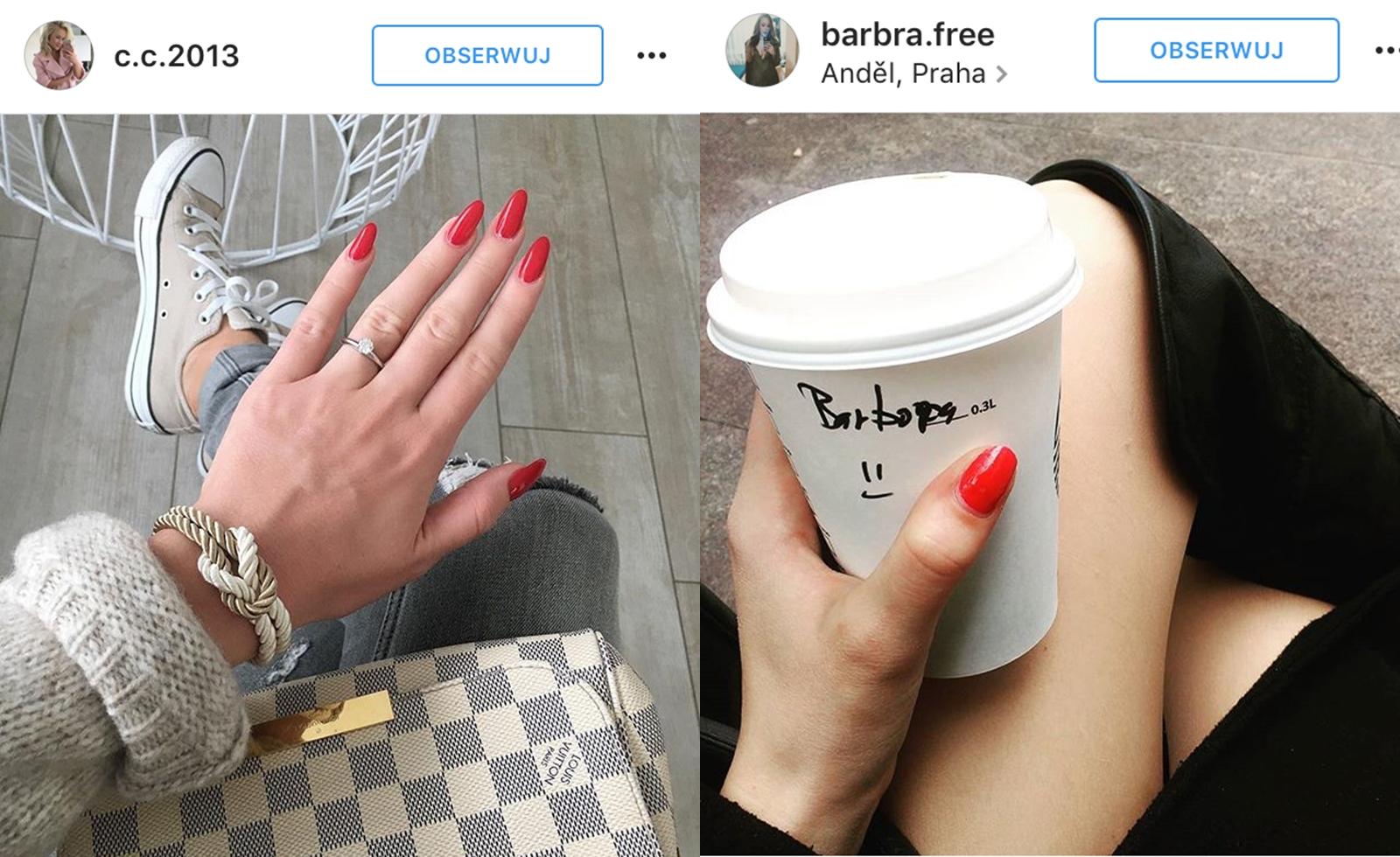czerwone paznokcie wzorki