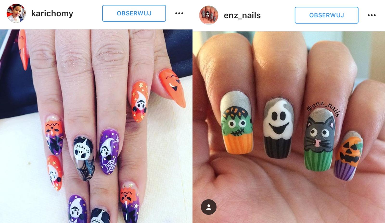 zdobienia halloweenowe na paznokciach