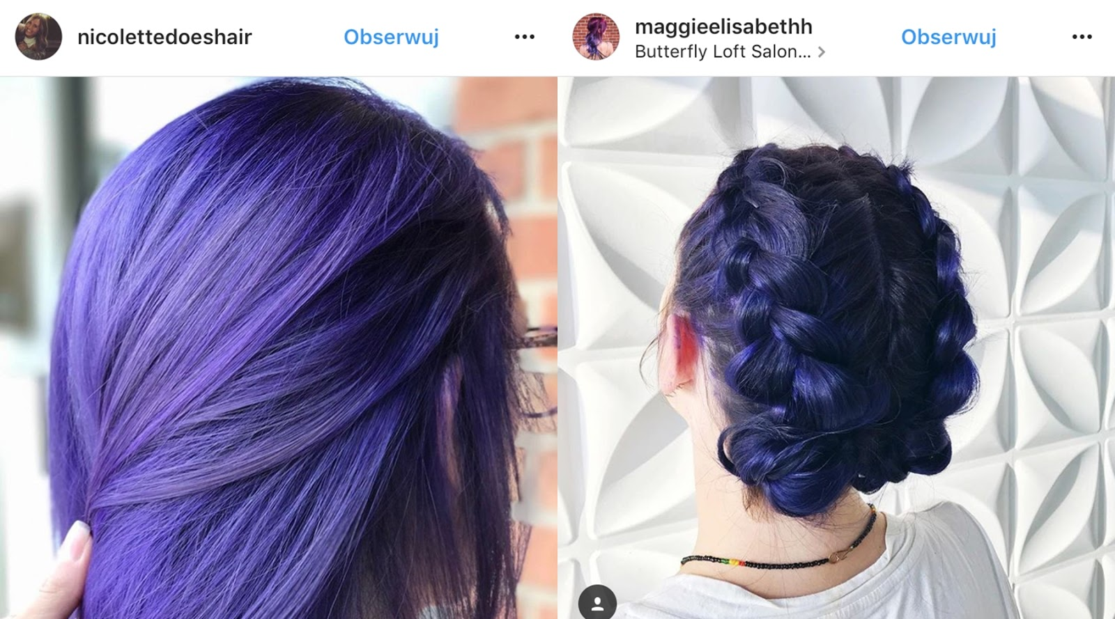 fioletowe włosy