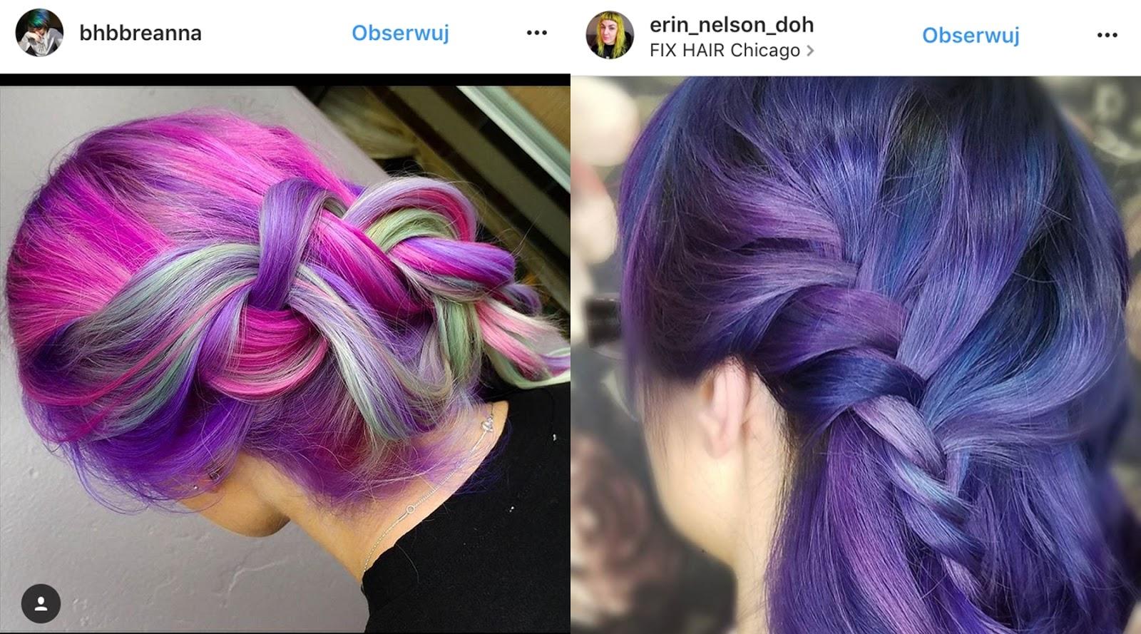 fioletowe włosy ombre