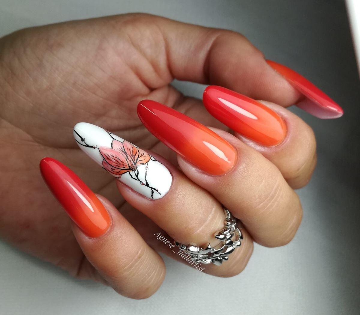 pomarańczowe ombre na paznokciach
