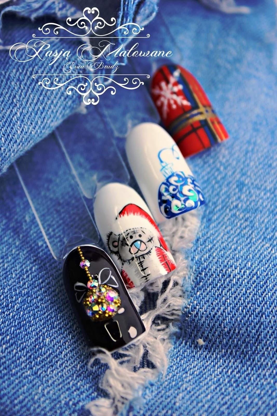 wzorki zimowe na paznokciach